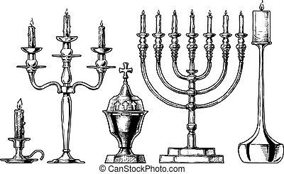 vector, conjunto, ilustración, candlesticks.
