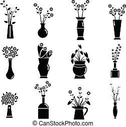 vector, Conjunto, Ilustración, florero