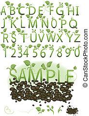 vector, conjunto, ilustración, un, carta, en, el, forma, de, verde, brotes, en, la tierra