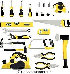 vector, conjunto, industrial, taller, herramienta, aislado,...