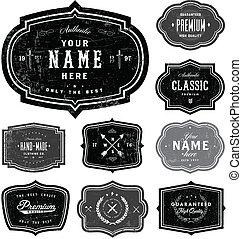 vector, conjunto, insignia, retro, plantilla