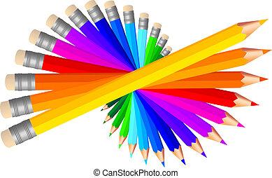 vector, conjunto, lápices de color