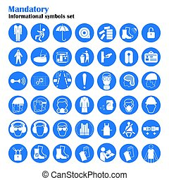 vector, conjunto, mandatory, work., industria, equipment., colección, protección, salud, ilustración, seguridad, construcción, signs.