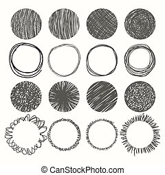 vector, conjunto, mano, circles., diseño, dibujado, ...