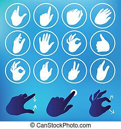 vector, conjunto, mano, iconos