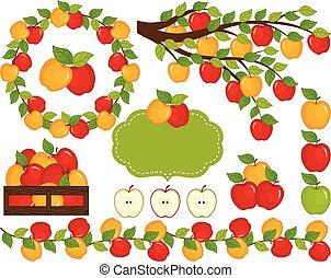 vector, conjunto, manzanas
