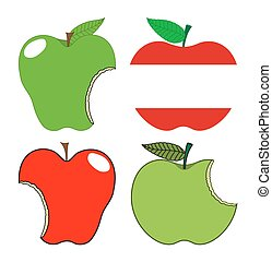 vector, conjunto, manzanas, comido