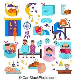 vector, conjunto, mascotas, gente, caracteres, almohada, ...