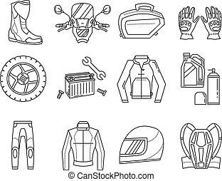 vector, conjunto, motocicleta, iconos