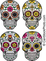 vector, conjunto, muerto, cráneo, día