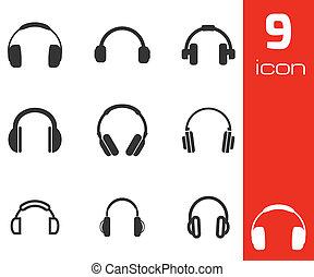 vector, conjunto, negro, auricular, iconos
