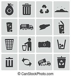 vector, conjunto, negro, basura, iconos