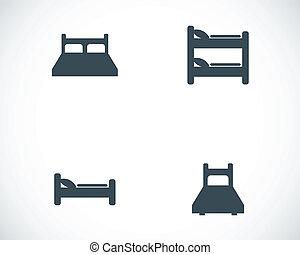 vector, conjunto, negro, cama, iconos