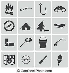 vector, conjunto, negro, caza, iconos