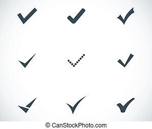 vector, conjunto, negro, confirmar, iconos