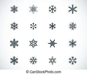 vector, conjunto, negro, copo de nieve, iconos