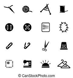 vector, conjunto, negro, costura, icono