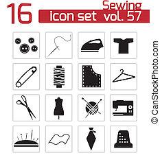 vector, conjunto, negro, costura, iconos