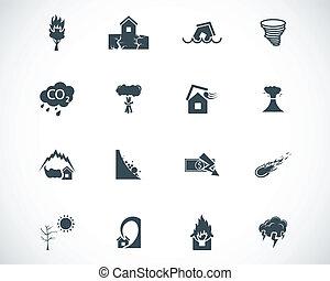 vector, conjunto, negro, desastre, iconos