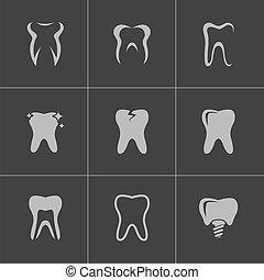vector, conjunto, negro, dientes, iconos