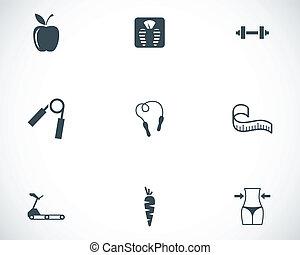 vector, conjunto, negro, dieta, iconos