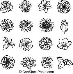 vector, conjunto, negro, flor, icono