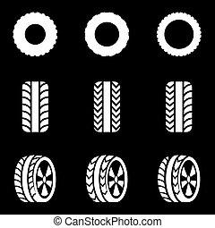 vector, conjunto, negro, neumático, icono