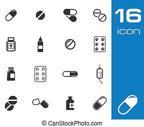 vector, conjunto, negro, píldoras, icono