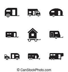 vector, conjunto, negro, remolque, iconos