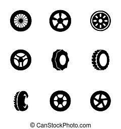 vector, conjunto, neumático, icono