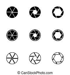 vector, conjunto, obturador, cámara, negro, icono