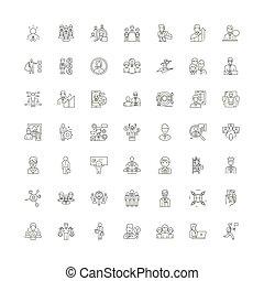 vector, conjunto, oficina, señales, iconos, línea, símbolos, ilustración, lineal