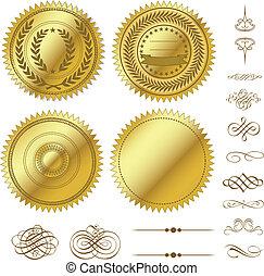 vector, conjunto, oro, sellos