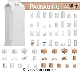 vector, conjunto, paquetes, venta al por menor