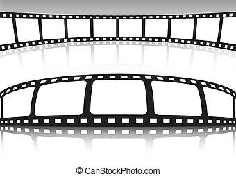 vector, conjunto, película, plano de fondo, tira