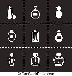 vector, conjunto, perfume, icono