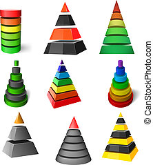 vector, conjunto, pirámides