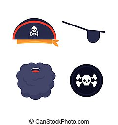 vector, conjunto, pirata, elements.