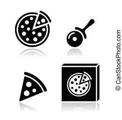 vector, conjunto, pizza, iconos