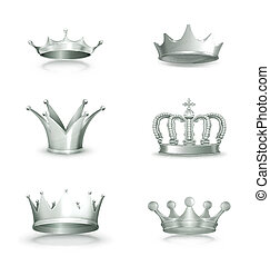vector, conjunto, plata, coronas