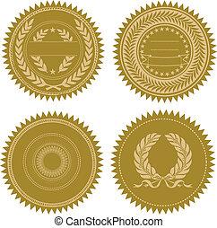vector, conjunto, premio, sello