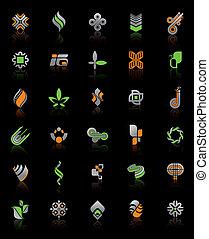 vector, conjunto, -, resumen, logotipos, y, iconos, en, fondo negro