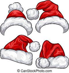 vector, conjunto, rojo, navidad, santa claus sombreros
