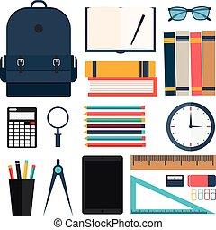 vector, conjunto, school., illustration., espalda