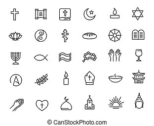 vector, conjunto, simple, lineal, design., religión, icons.,...