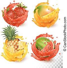 vector, conjunto, splash., mango, jugo, fruta, fresa, piña, sandía
