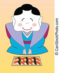 vector, conjunto, sushi, japonés, geisha