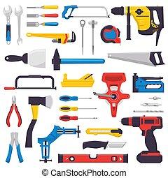 vector, conjunto, taller, herramienta, aislado, ilustración, destornillador, llave inglesa, hand-saw, carpinteros, plano de fondo, handtools, construcción, alicates, blanco, mano, martillo, caja de herramientas, cortador