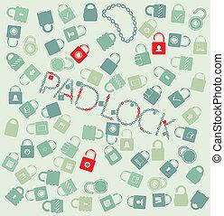 vector, conjunto, tela, icons., pudlock, y, cadena, seamless