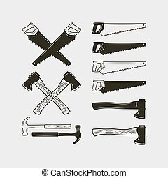 vector, conjunto, trabajo, equipment., ilustración, madera, tools., carpintería